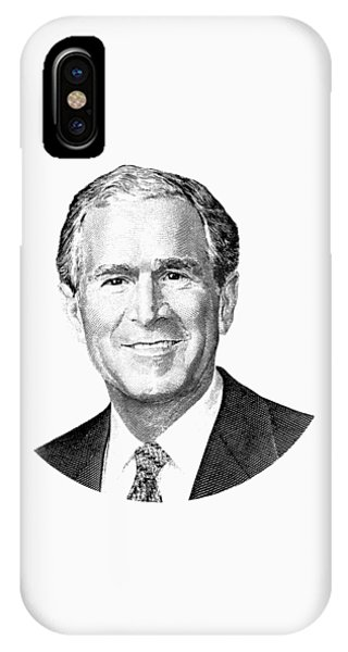 George Bush iPhone Case - President George W. Bush Graphic - Black And White by War Is Hell Store