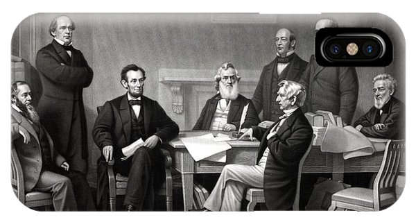United States Presidents iPhone Case - President Lincoln And His Cabinet by War Is Hell Store