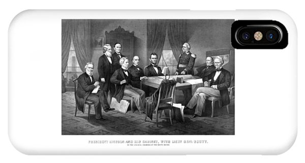 Salmon iPhone Case - President Lincoln His Cabinet And General Scott by War Is Hell Store