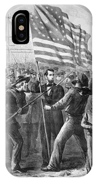 President Lincoln Holding The American Flag IPhone Case