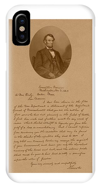 History iPhone Case - President Lincoln's Letter To Mrs. Bixby by War Is Hell Store