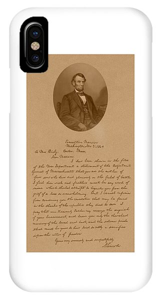 Patriot iPhone Case - President Lincoln's Letter To Mrs. Bixby by War Is Hell Store