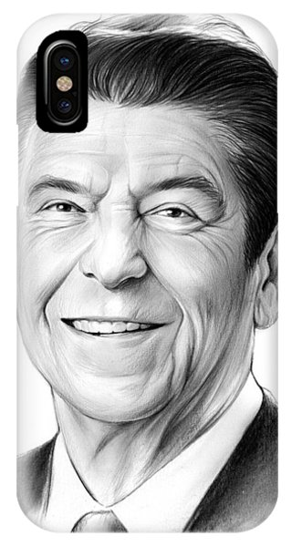 United States Presidents iPhone Case - President Ronald Reagan by Greg Joens