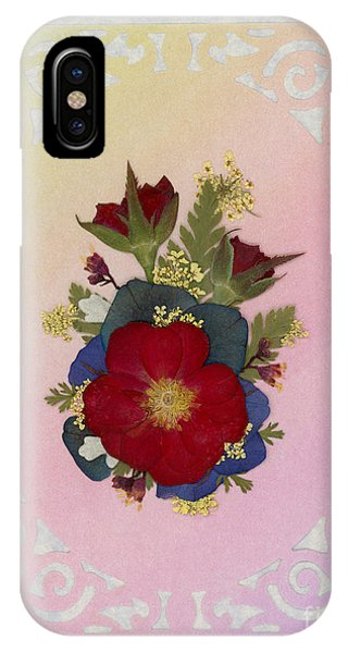 Pressed Flowers Arrangement With Red Roses IPhone Case