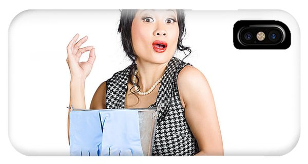 Pretty Asian Lady Giving Ok Gesture To Clean IPhone Case