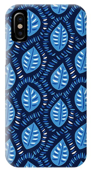 Pretty Decorative Blue Leaves Pattern IPhone Case