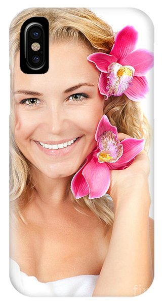 Pretty Girl With Pink Flowers IPhone Case
