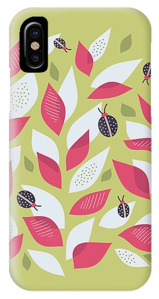 Pretty Plant With White Pink Leaves And Ladybugs IPhone Case