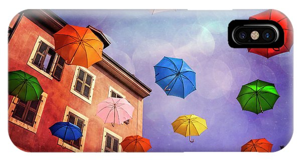 Pretty Umbrellas In Carouge Geneva  IPhone Case