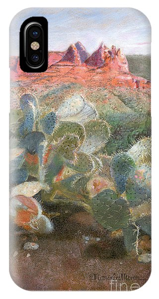 IPhone Case featuring the painting Prickly Pear In Sedona, Arizona by Nancy Lee Moran