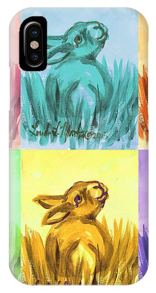 IPhone Case featuring the painting Primary Bunnies by Linda L Martin