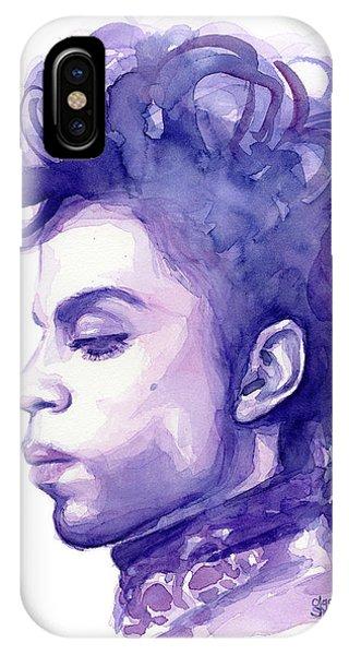 Drawing iPhone Case - Prince Musician Watercolor Portrait by Olga Shvartsur