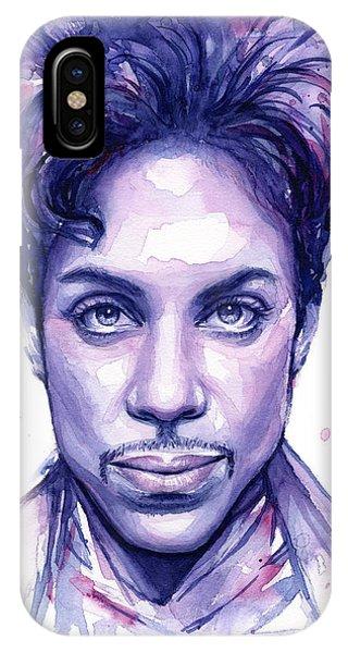 Drawing iPhone Case - Prince Purple Watercolor by Olga Shvartsur