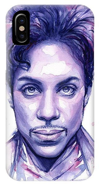 Musicians iPhone X Case - Prince Purple Watercolor by Olga Shvartsur