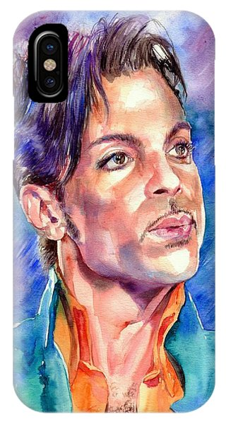 Blues Legends iPhone Case - Prince Rogers Nelson Super Bowl 2007 Portrait by Suzann's Art