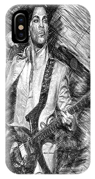Prince - Tribute With Guitar In Black And White IPhone Case