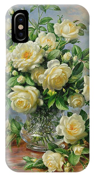 Bloom iPhone Case - Princess Diana Roses In A Cut Glass Vase by Albert Williams