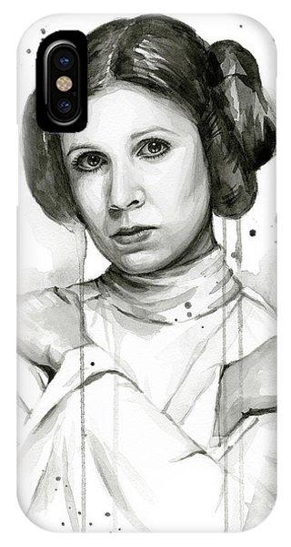 Nerd iPhone Case - Princess Leia Portrait Carrie Fisher Art by Olga Shvartsur