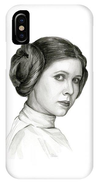 Nerd iPhone Case - Princess Leia Watercolor Portrait by Olga Shvartsur