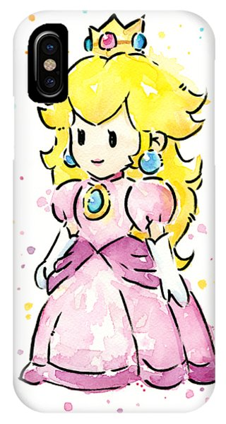 Peach iPhone Case - Princess Peach Watercolor by Olga Shvartsur