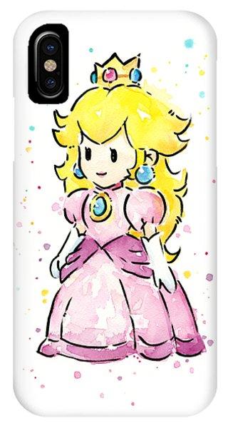 Peach iPhone Case - Princess Peach Watercolor by Olga Shvartsur