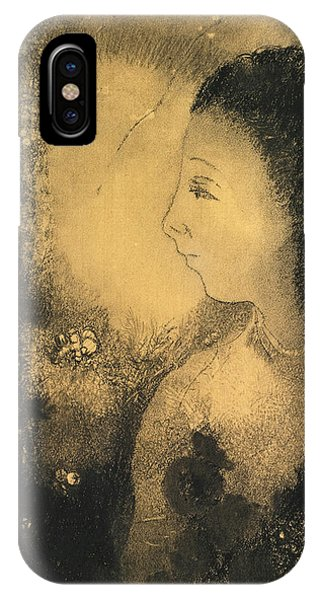 Impressionistic iPhone Case - Profile Of A Woman With Flowers by Odilon Redon