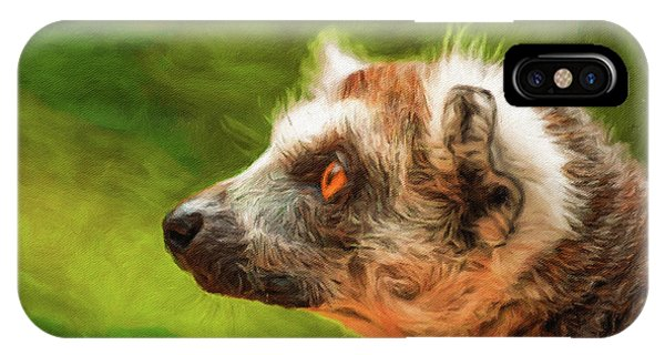 Ring-tailed Lemur iPhone Case - Profile Portrait Of Ring-tailed Lemur by Miroslav Liska