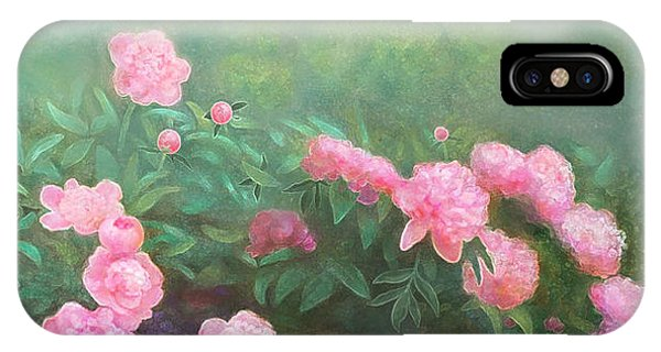 IPhone Case featuring the mixed media Profuse Peony Blossoms by Nancy Lee Moran