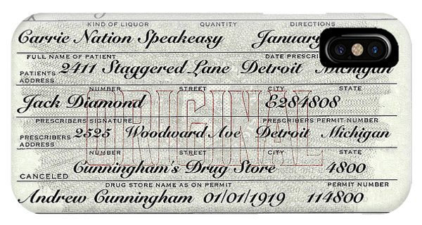 iPhone Case - Prohibition Prescription Certificate Carrie Nation Speakeasy by David Patterson