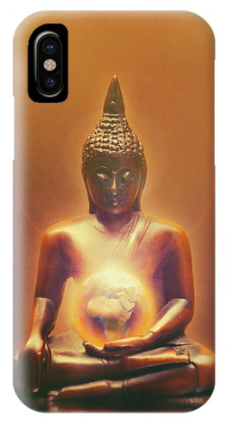 Buddhism iPhone Case - Protecting Earth by Wim Lanclus