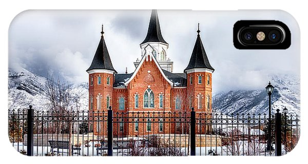 IPhone Case featuring the photograph Provo City Center Temple Canvas Print, Photographic Print, Art Print, Framed Print, Greeting Card, by David Millenheft