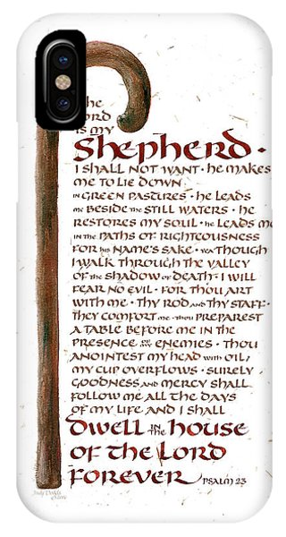 Staff iPhone Case - Psalm 23 by Judy Dodds