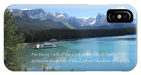IPhone Case featuring the painting Psalm 27 With Maligne Lake by Linda Feinberg