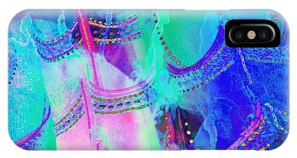 Psychedelic Blue Shoes Shopping Is Fun Abstract Square 4f IPhone Case