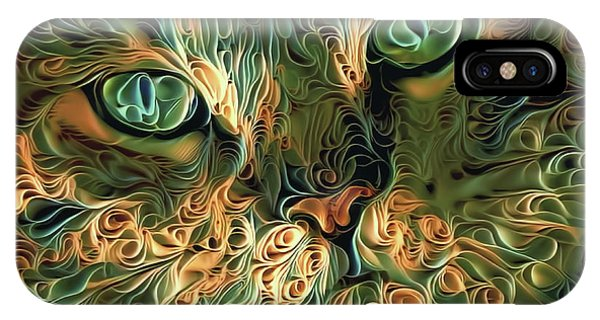 Psychedelic Tabby Cat Art IPhone Case