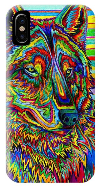 Vibrant iPhone Case - Psychedelic Wolf by Rebecca Wang
