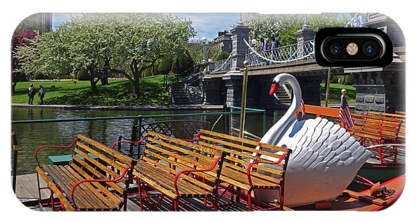Public Garden Swan Boat In The Spring Boston Ma IPhone Case