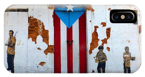Puerto Rican Flag On Wooden Door IPhone Case