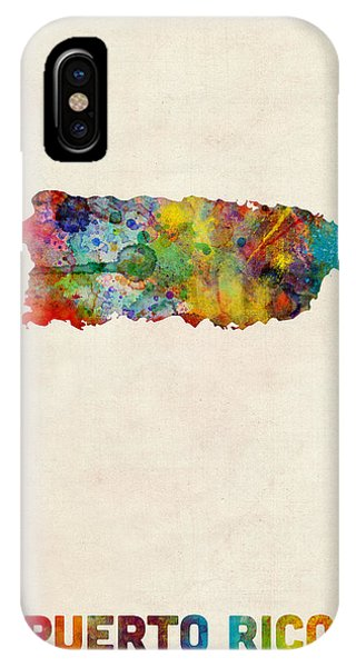 Usa iPhone Case - Puerto Rico Watercolor Map by Michael Tompsett