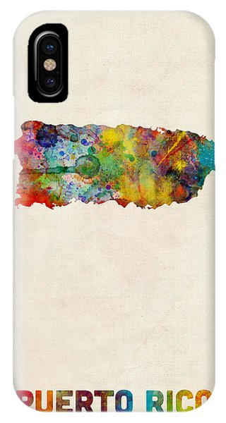 Map iPhone Case - Puerto Rico Watercolor Map by Michael Tompsett