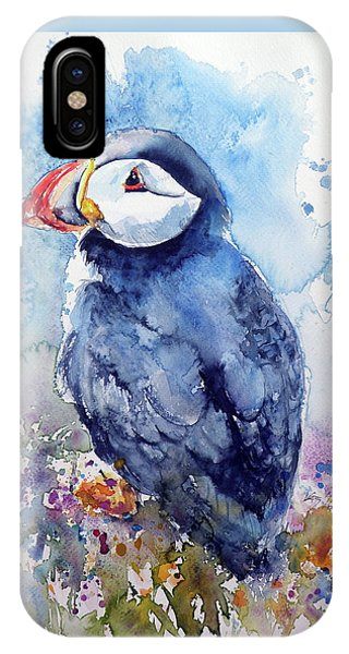 Puffin With Flowers IPhone Case