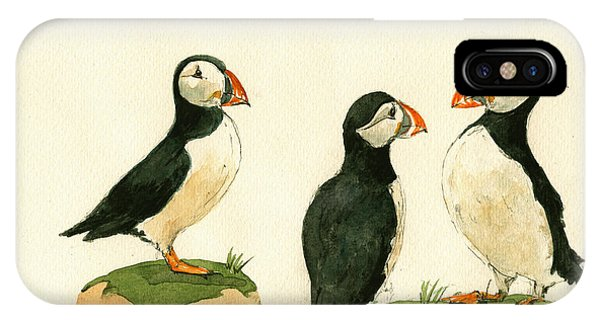 Bird Watercolor iPhone Case - Puffins by Juan  Bosco