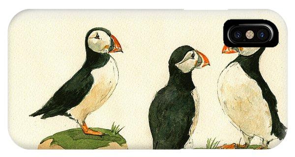 Bird iPhone Case - Puffins by Juan  Bosco