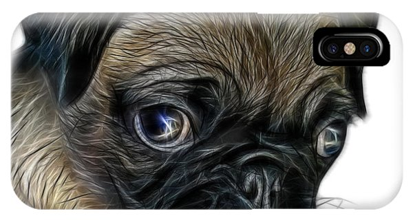 IPhone Case featuring the digital art Pug -  9567 Fs W by James Ahn