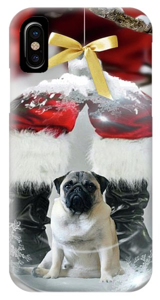 IPhone Case featuring the photograph Pug And Santa by Jackson Pearson