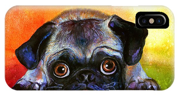 Pug Dog Portrait Painting IPhone Case
