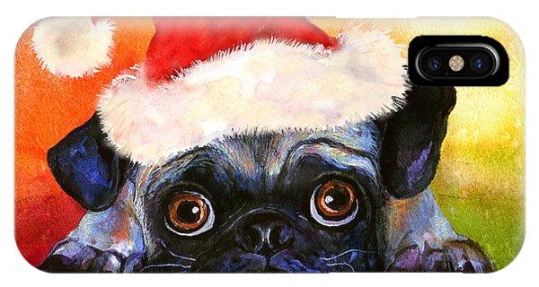 Watercolor Pet Portraits iPhone Case - Pug Santa Portrait by Svetlana Novikova