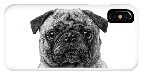 Pug iPhone X Case - Pug T-shirt by Edward Fielding