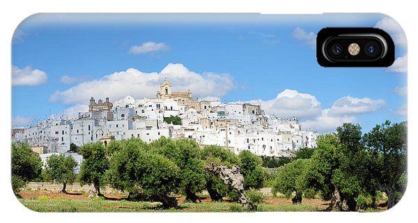 Puglia White City Ostuni With Olive Trees IPhone Case
