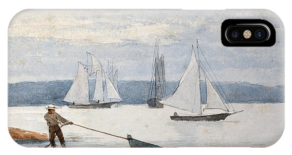 Docked Boats iPhone Case - Pulling The Dory by Winslow Homer